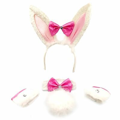 Bunny Girl Rabbit Set Easter Fancy Dress Costume Hen Party Ears Tail Collar Bow