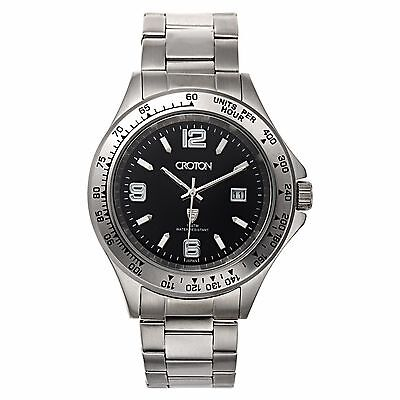 Croton Mens Ca301253ssbk Aquamatic Tachymeter Bezel Quartz Watch