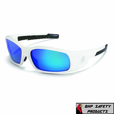 MCR CREWS SWAGGER SAFETY GLASSES SR128B WHITE FRAME/BLUE MIRROR LENS (Blue Mirror Lens Sunglasses)