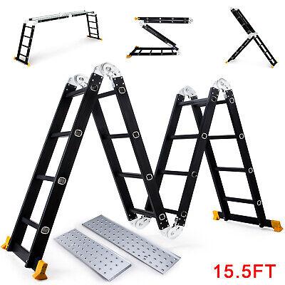 Black 15.5ft Aluminum Multipurpose Ladder Telescoping Folding Extension Platform