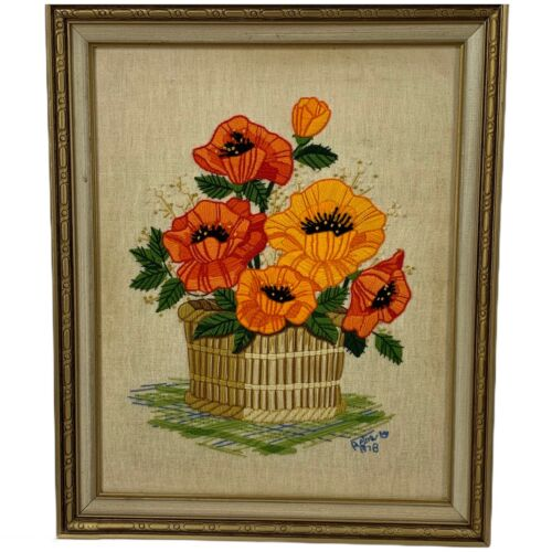 VINTAGE 70s Crewel Needlework Framed Picture Yarn Orange Flowers 16x20 Poppies?