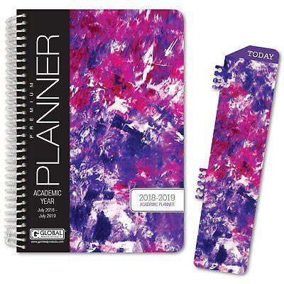 Hardcover Academic Year Planner 2018-2019 Purple Art