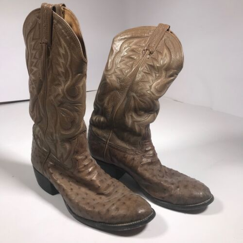 TONY, LAMA, Full, Quill, Ostrich, Leather, Cowboy, Boots, Mens, Sz, 10, D, Style, 8823, [BD02]