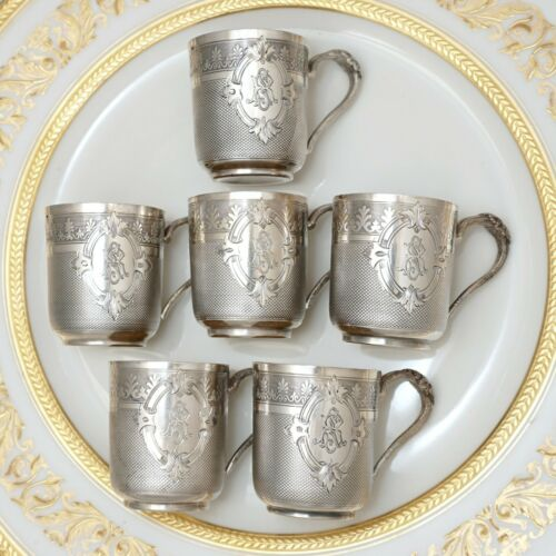 6 Antique French Sterling Silver Liquor Cordials Cups Mugs Set, Vodka, Liqueur