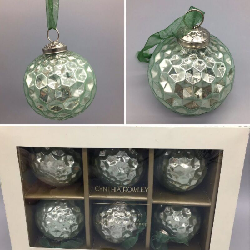 "6 Cynthia Rowley Mercury Glass Honeycomb Christmas Ornament Set Sea Green 3"" NEW"