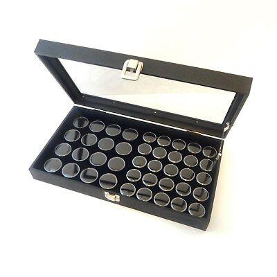 Glass Top 41 Gem Black 2 Sizes Jars Display Organizer Storage Case Lid Support