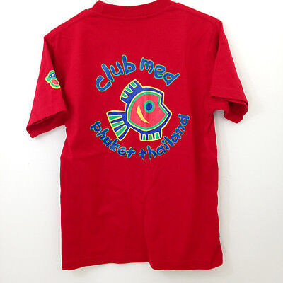 Club Med Phuket T Shirt Adult Size Small Red Thailand Tropical Fish Logo