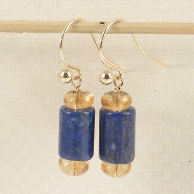 Natural Blue Lapis Tube between 2 Citrine 14k Yellow Gold Fish Hook Earrings TPJ