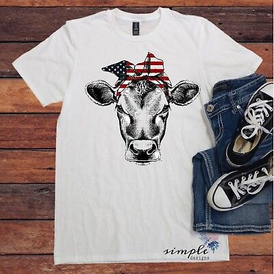 Cow Bandana (Cow Bandana Red White and Blue T-shirt, Patriotic Cow, American Cow, Cow)