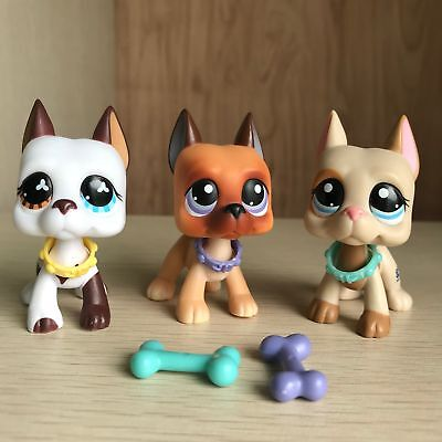 3 Littlest Pet Shop LPS Toy Great Dane dogs 577 244&5Pcs Bone Bowl Authentic