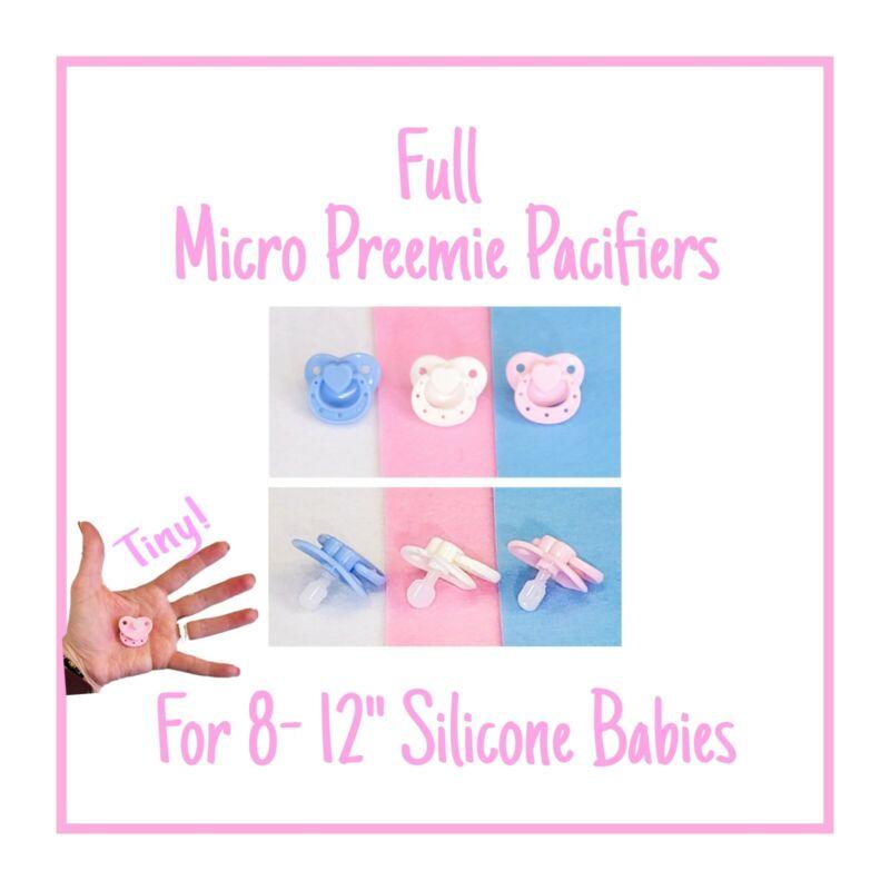 WHITE Micro Preemie Silicone Baby Pacifier w/Full Nipple
