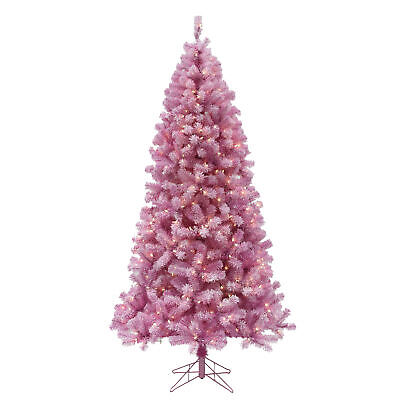 Perfect Holiday 6.5ft Pre-lit Light Pink Christmas Tree w/ 400 LED, Dia 41