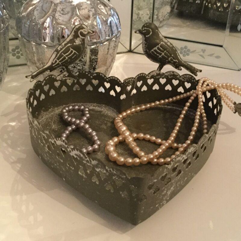 Antique Style Grey Heart Metal Trinket Dish Jewellery Bird Vintage Tray French