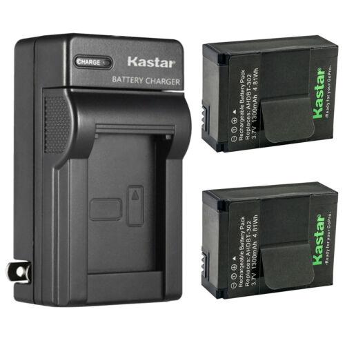 Kastar 2x Battery + Charger for GoPro Hero 3 HERO3+ AHDBT-301 AHDBT-302 Battery