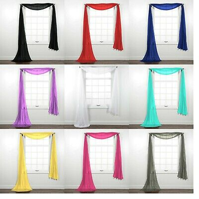 New Sheer Window Scarf Valance Topper Curtain Drapes in Many Colors, 216