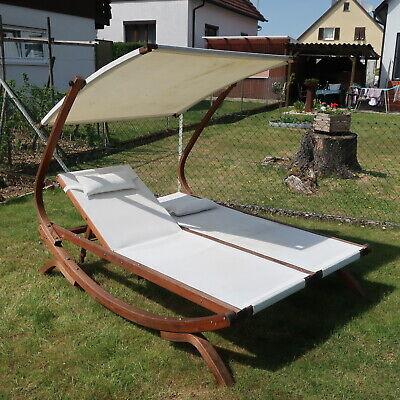 TULUM Doppel Liege XXL Lärche Holz mIt verstellbarem Sonnendach + Kissen - 430 €