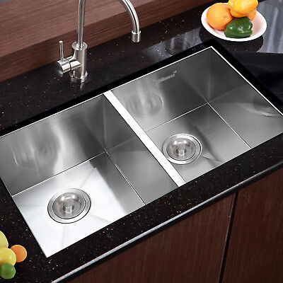 "30""x18"" Stainless Steel Kitchenette Sink Double Bowl Undermount 19 Gauge Commercial"