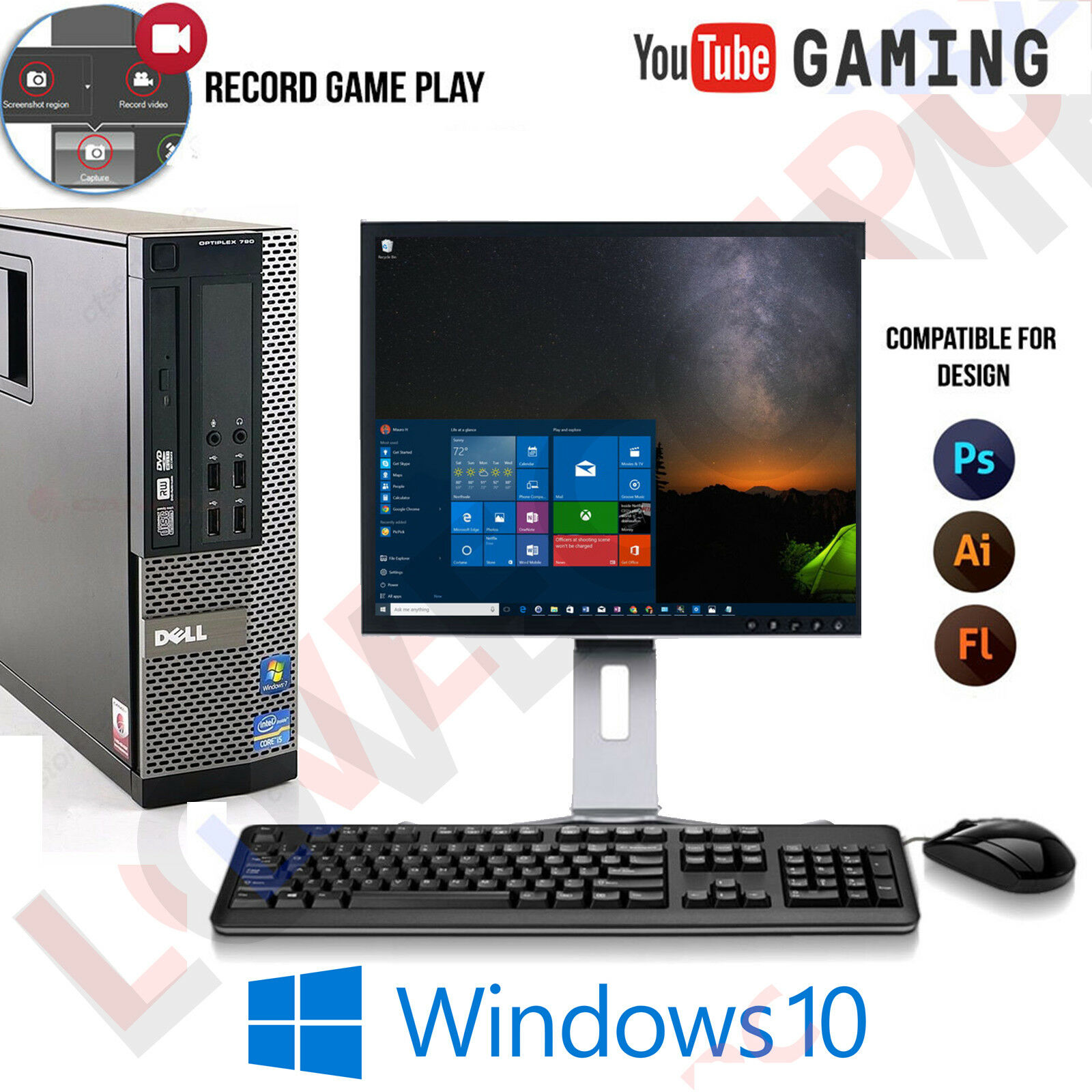 Computer Games - WINDOWS 10 GAMING COMPUTER PC INTEL CORE i5 8GB RAM 1TB HDD DESIGN AND GAMING