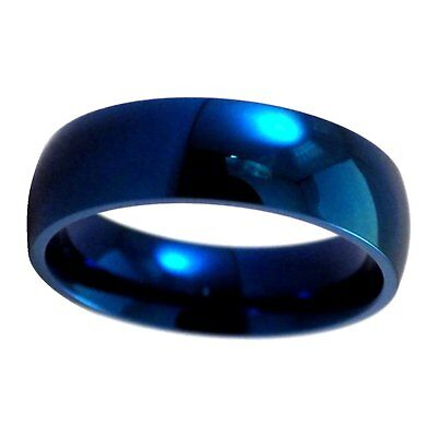 - Electric Blue Stainless Steel Ring Mens Womens Simple Wedding Band 6mm Size 3-16