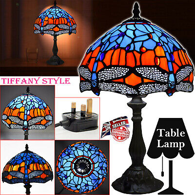 TIFFANY STYLE UNIQUE STAINED BUTTERFLY GLASS LIVING/DED DESK TABLE LAMP UK PLUG