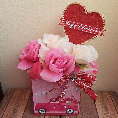 Red & White Pink  Artificial Valentines Day  Flower Arrangement Heart Love -