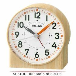 Seiko QHE168Y Bedside Analoug Alarm Clock¦Wood Pattern Case¦Orange Lumibrit Hand