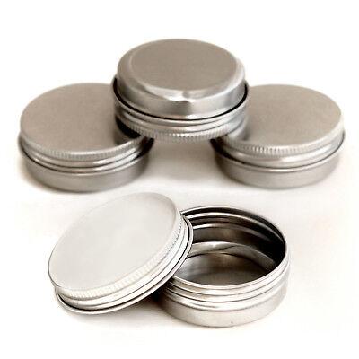 10 x 30ml screw lid Aluminium Cosmetic Pots Lip Balm Jars candle Tin Empty jja10 d'occasion  Expédié en Belgium