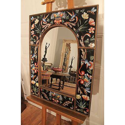 Prunkvoll Barock Rahmen Spiegel Handgemalt Hinterglasmalerei Mirror 70cmx55cm