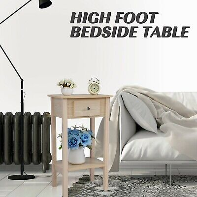 Natural Wood Nightstand 2 Tier Coffee End Table Compact Bedside Desk Bedroom