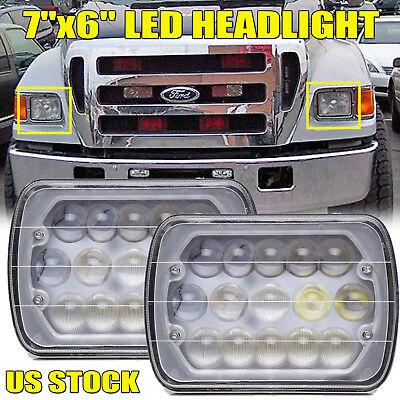 For Ford F600 F650 F700 F750 1970-2017 2X 7''x6'' LED DRL Headlight Hi-Lo Beam
