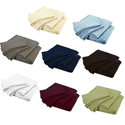 3 Pcs Solid Ultra Soft Deep Pocket Bedding Sheets Pillow Case Set Twin Clearance ()