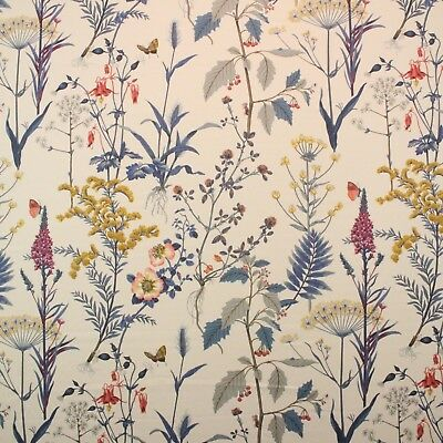 Blue Butterfly Designs (BALLARD DESIGN ISABELLA BLUE FLORAL BOTANICAL BUTTERFLY FABRIC BY THE YARD 54