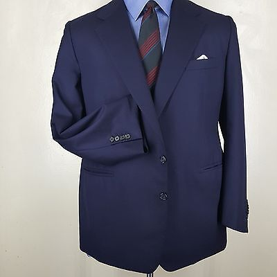Used, DUNHILL Bespoke Navy Blue Blazer  2 Btn Center Vent  100% Wool Fit 46 Reg Portly for sale  Shipping to India