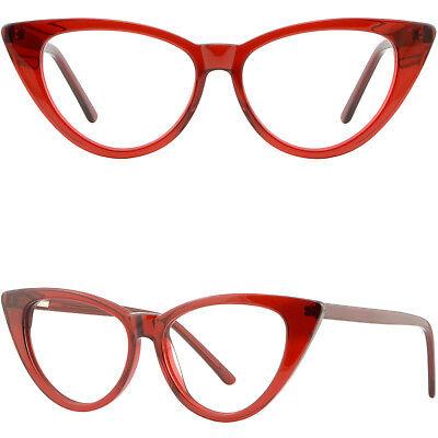 Large Wide Womens Cat Eye Frame Plastic Spring Hinges RX Glasses Translucent Red ()