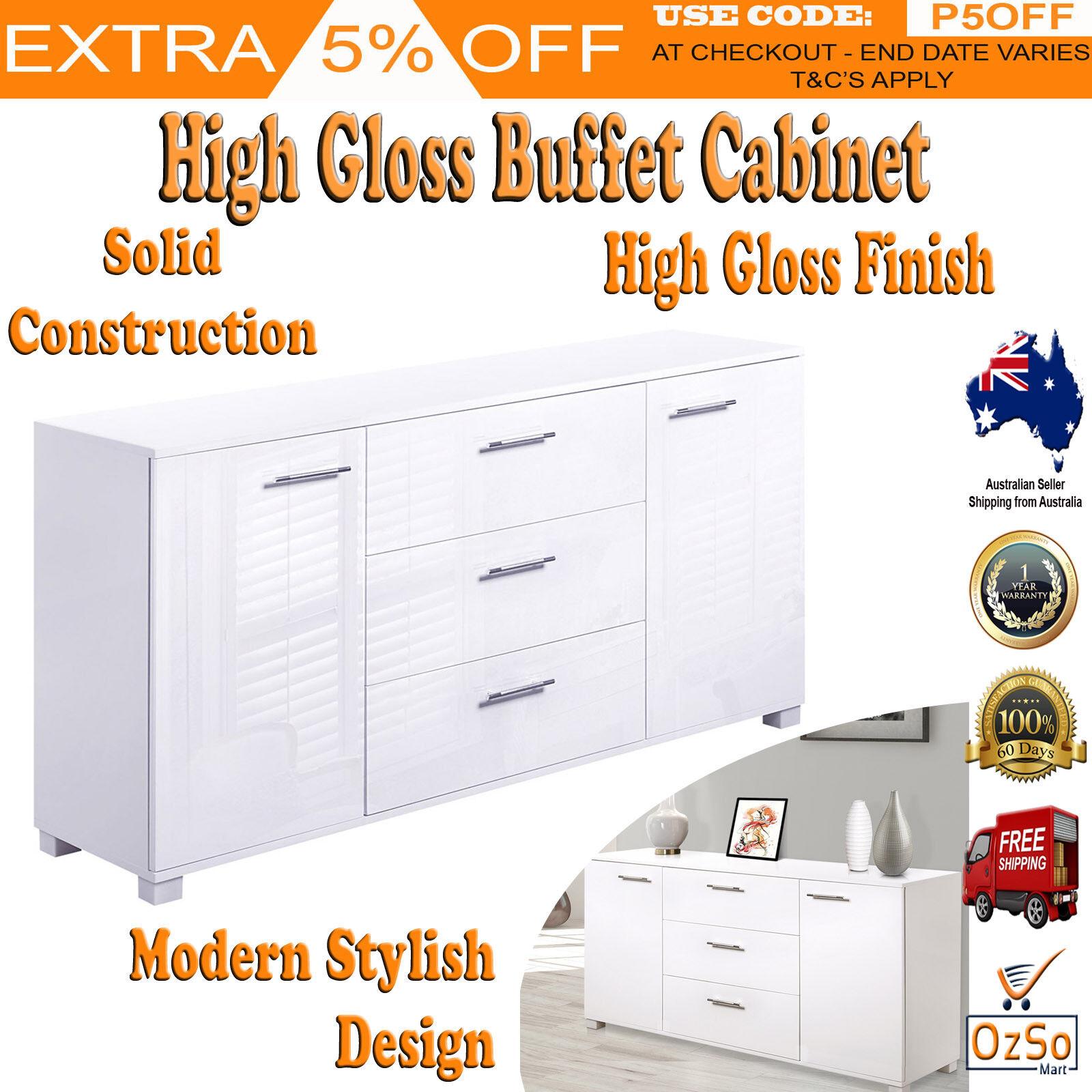 White Gloss Kitchen Cabinets Ebay: High Gloss Storage Cabinet Bedroom Kitchen Sideboard