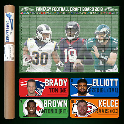 Fantasy Football Draft Kit 2018   Color Player Labels   Draft Board