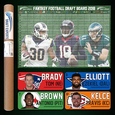 Fantasy Football Draft Kit 2018 - Color Player Labels & Draft Board