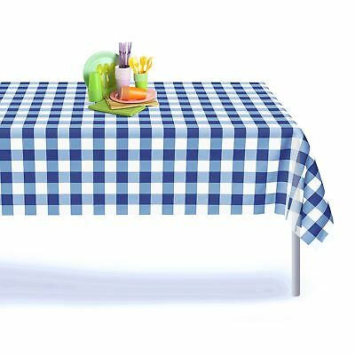 Blue Gingham Checkered 12 Pack Premium Disposable Plastic Picnic Tablecloth 5...