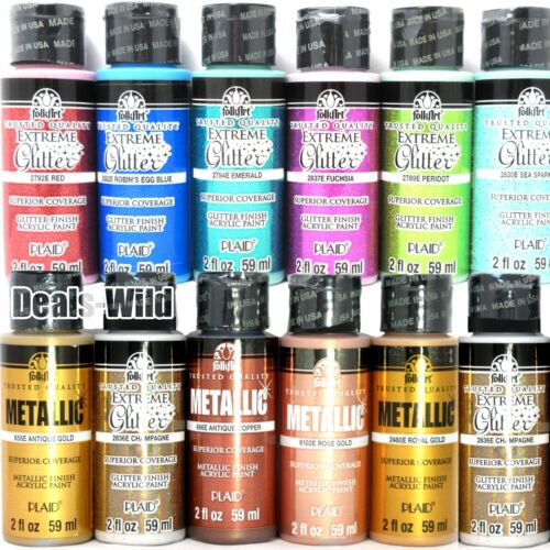 1 Metallic or Extreme Glitter Acrylic Paint FolkArt 2oz Folk Art Shiny Paints