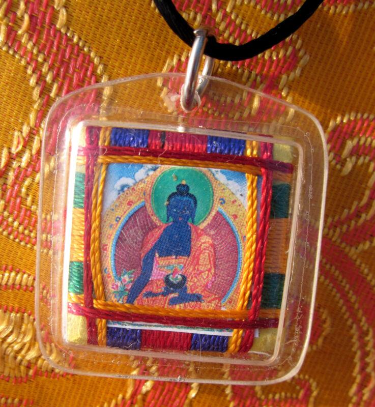 HEALING PROTECTIVE MEDICINE BUDDHA TIBETAN BUDDHIST PENDANT AMULET BLACK CORD