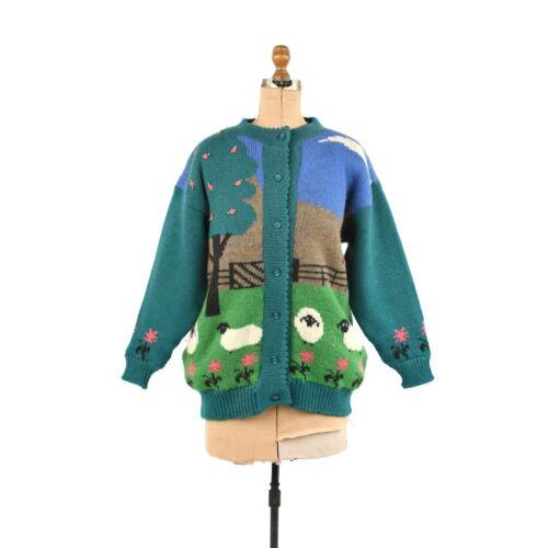 Vintage 80s Irish Knit All Wool Oversized Novelty Sheep Knit Cardigan Sweater L