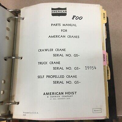 American 800 Truck Crane Parts Manual Book Catalog Guide List Carrier Hoist