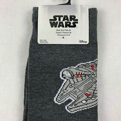 Star Wars Han Solo Millenium Falcon Socks Men's Casual Gray Socks Shoe Sz 6-12