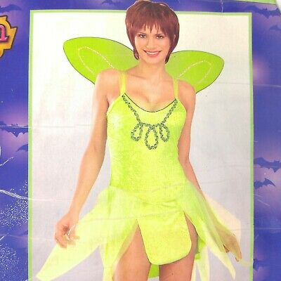 Halloween Costume Tinkerbell Adult Fairy Mini Dress Wings Size Fits up to 12