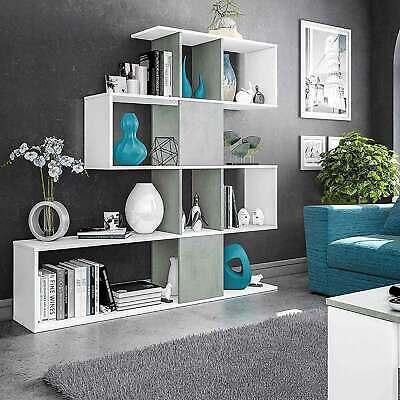 Libreria moderna Domino bianco/cemento con 5 ripiani a zig zag divisori sfalsati