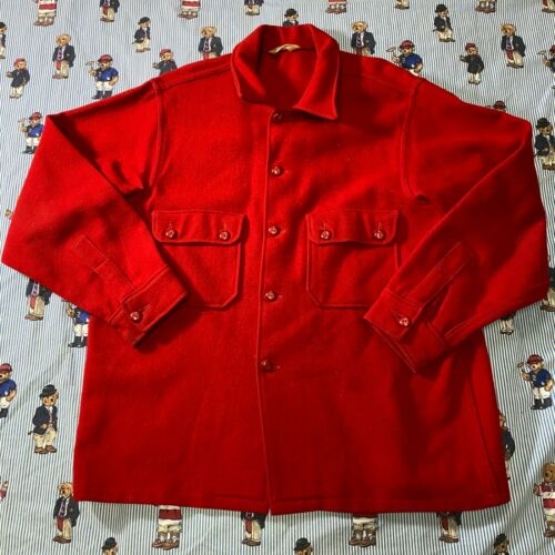 Vintage Boy Scouts Of America Red Wool Blend Button Front Official Jacket Leader