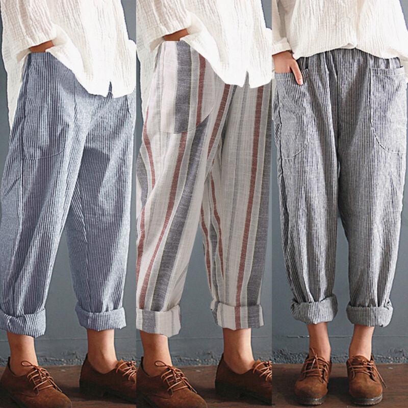 Womens Striped Harem Pants Baggy Linen Casual Loose Pocket T