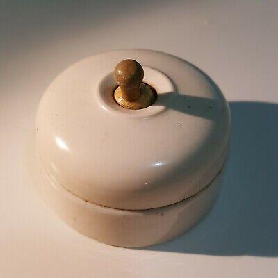 White bakelite antique dolly light switch MARBO brand vitreous ceramic