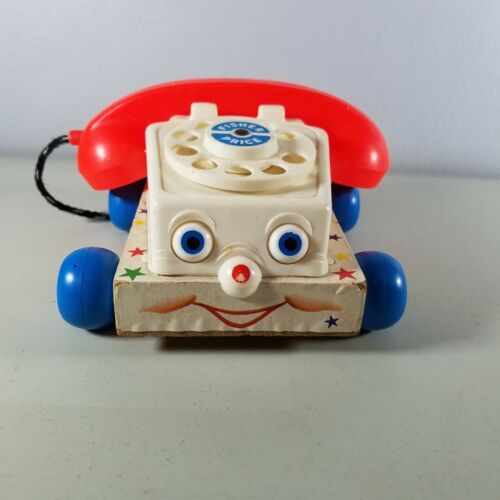 1961 Fisher Price Chatter Phone Pull Toy Moving Eyes #747 VTG