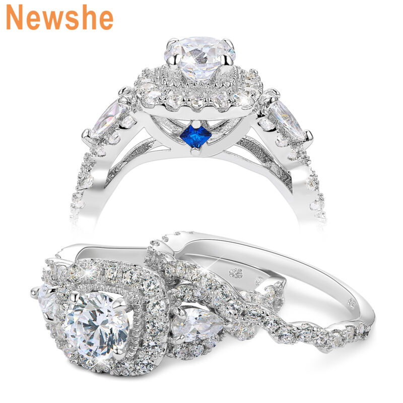 Newshe Engagement Wedding Ring Set 2.4ct 925 Sterling Silver Round Pear White Cz